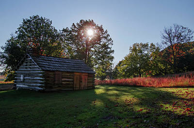Valley Forge Cabin In Autumn Print by Bill Cannon