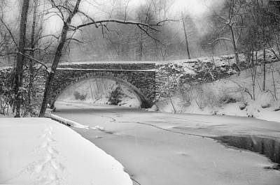 Phillies Digital Art - Valley Green Bridge In Freshly Fallen Snow In Black And White by Bill Cannon