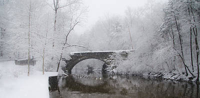 Valley Green Bridge In The Snow Art Print