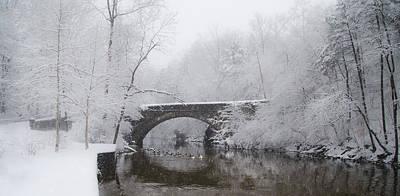 Winter Storm Digital Art - Valley Green Bridge In The Snow by Bill Cannon