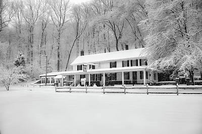 Wissahickon Creek Photograph - Valley Green Snowfall In Black And White by Bill Cannon