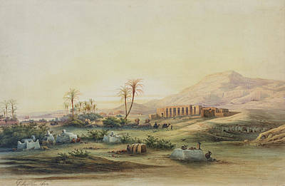 Basin Painting - Valley Of The Nile With The Ruins Of The Temple Of Seti I by Prosper Georges Antoine Marilhat