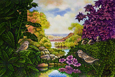 Art Print featuring the painting Valley Of The Sparrows by Michael Frank