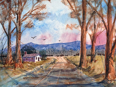 Impressionistic Landscape Drawing - Valley Road - Watercolor by Barry Jones