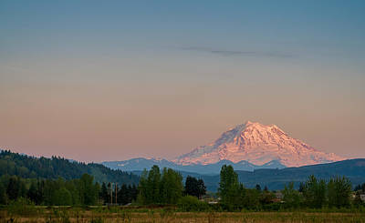 Photograph - Valley Sunset Of Mt Rainier by Ken Stanback