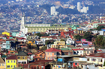 Photograph - Valparaiso Buildings Chile by John Rizzuto