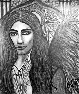 Drawing - Vampire Angel by Absinthe Art By Michelle LeAnn Scott