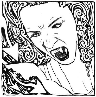 Yonatan Drawing - Vampire Maze by Yonatan Frimer Maze Artist