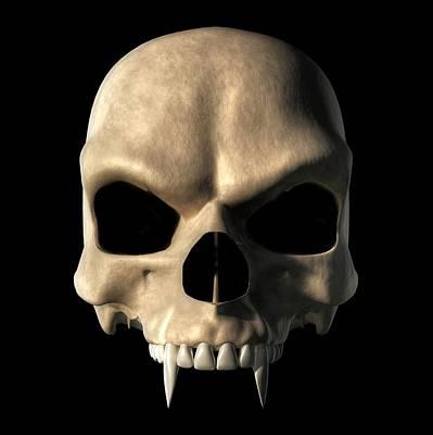 Dracula Digital Art - Vampire Skull by Daniel Eskridge