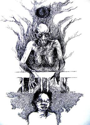 Succubus Drawing - Vampire Zombie by Harold Bascom