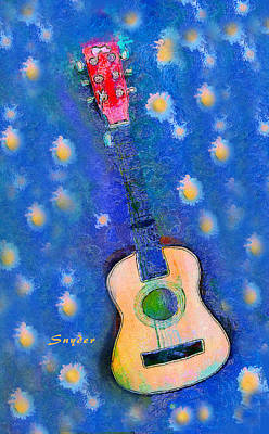 Photograph - Van Gogh Blue Starry Night Guitar by Floyd Snyder