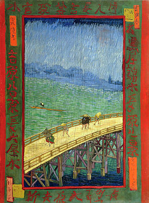 Painting - Van Gogh Bridge In Rain After Hiroshige by Vincent Van Gogh