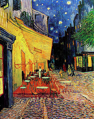 Man Painting - Van Gogh Cafe Terrace Place Du Forum At Night by Vincent Van Gogh