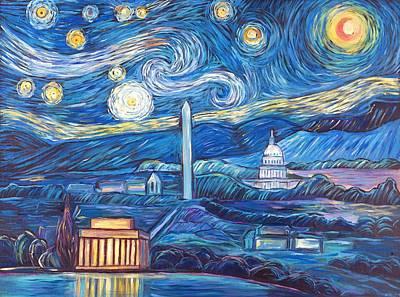 Washington Monument Painting - Van Gogh Meets D.c. by Zachary Sasim