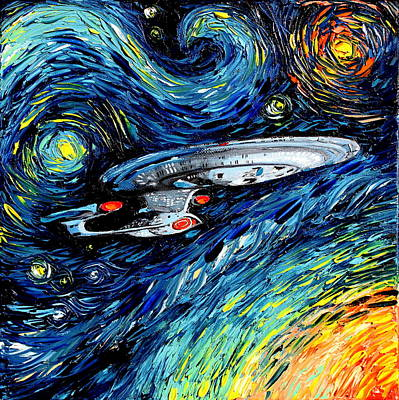 Starship Enterprise Painting - van Gogh Never Boldly Went by Aja Apa-Soura