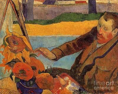 Gauguin Mixed Media - Van Gogh Painting Sunflowers by Gauguin