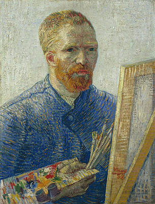 Education Painting - Van Gogh Self Portrait In Front Of Easel by Vincent Van Gogh