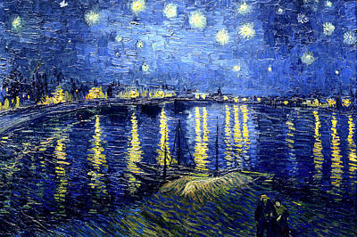 Painting - Van Gogh Starry Night Over The Rhone by Lori Grimmett