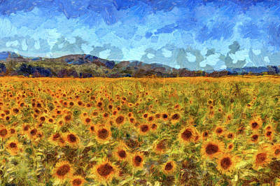 Mixed Media - Van Gogh Summer Sunflowers by David Pyatt