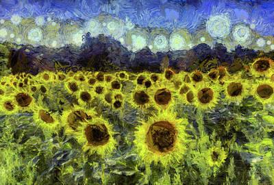Impressionism Photos - Van Gogh Sunflowers by David Pyatt