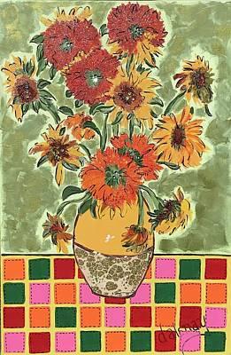 Mixed Media - Van Gogh Sunflowers Remix by Dalene Woodward