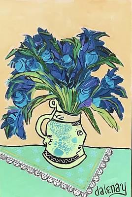 Mixed Media - Van Gogh Vase Of Blue Flowers Remix by Dalene Woodward