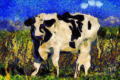 Hamburger Digital Art - Van Gogh.s Big Bull . 7d12437 by Wingsdomain Art and Photography