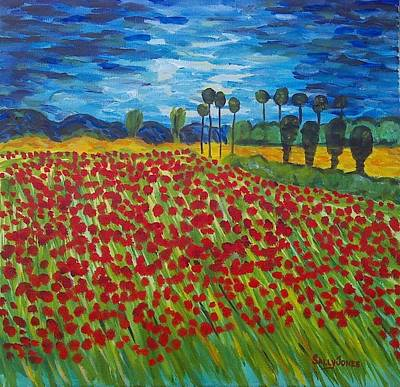 Van Gogh's Field Of Poppies Original by Sally Jones