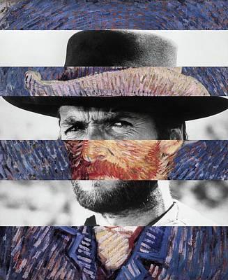 Quadro Digital Art - Van Gogh's Self Portrait And Clint Eastwood by Luigi Tarini
