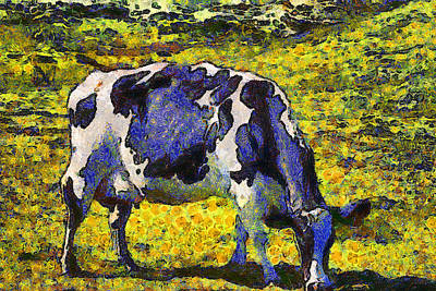 Wingsdomain Digital Art - Van Gogh.s Starry Blue Cow . 7d16140 by Wingsdomain Art and Photography