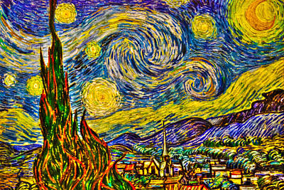Impressionism Photos - Van Goghs Starry Night - HDR by Randy Aveille