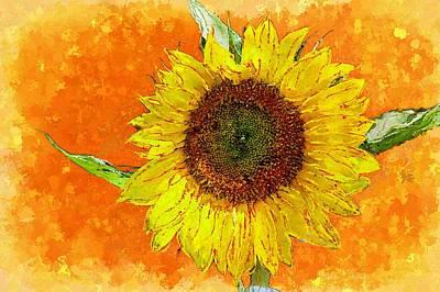 Painting - Van Gogh's Sunflower In Orange by Barbara Chichester