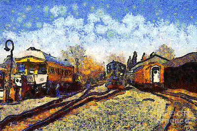 Photograph - Van Gogh.s Train Station 7d11513 by Wingsdomain Art and Photography