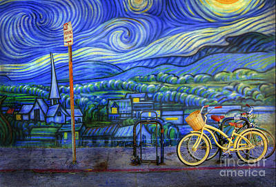 Art Print featuring the photograph Van Gogh's Yellow And Green Bicycles by Craig J Satterlee