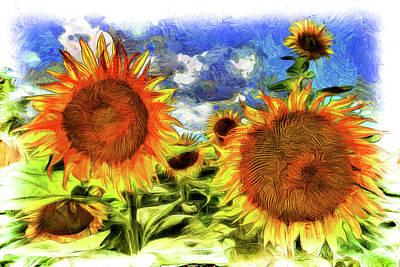 Photograph - Van Goth Sunflowers by David Pyatt