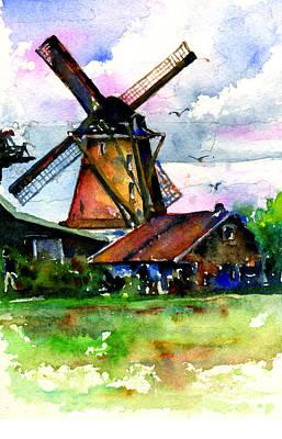 John Benson Painting - Van Gough Windmill by John D Benson