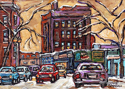 Painting - Van Horne Montreal Winter Scene Painting For Sale Quebec Small Format Paintings For Sale C Spandau   by Carole Spandau