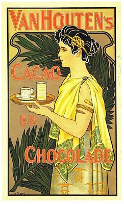 Royalty-Free and Rights-Managed Images - Van Houtens Cacao En Chocolate - Vintage Chocolate Advertising Poster by Studio Grafiikka