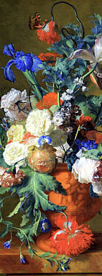 Still Life Royalty-Free and Rights-Managed Images - Van Huysums Flowers In An Urn -- Cropped by Cora Wandel