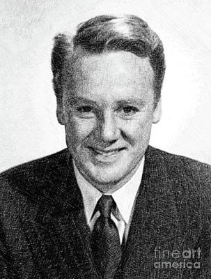 Musicians Drawings - Van Johnson, Vintage Actor by JS by John Springfield
