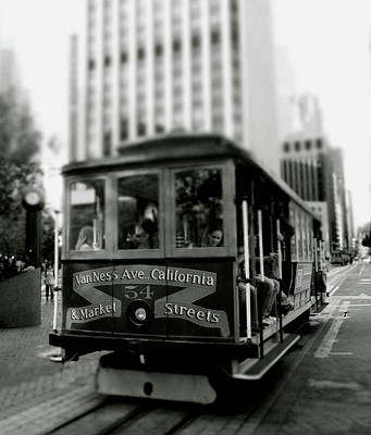 Design And Photograph - Van Ness And Market Cable Car- By Linda Woods by Linda Woods