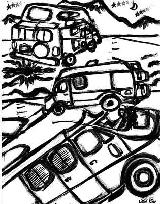 Austin Drawing - Van Roadtrip by Levi Glassrock