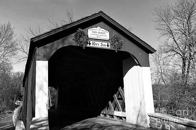 Solebury Photograph - Van Sandt Covered Bridge Mono by John Rizzuto