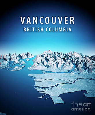 Canada Digital Art - Vancouver 3d Render Satellite View Topographic Map Vertical Blue by Frank Ramspott