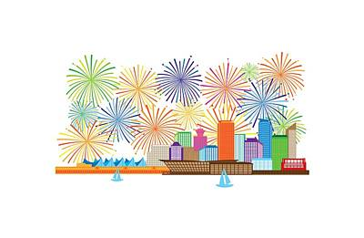 Photograph - Vancouver Bc Canada Skyline Fireworks Illustration by Jit Lim