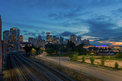 Photograph - Vancouver Bc City Skyline At Blue Hour by Jit Lim