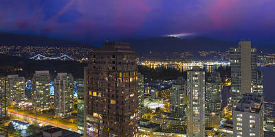 Dainty Chairs Fashions Sketches - Vancouver BC Cityscape at Dusk Panorama by Jit Lim