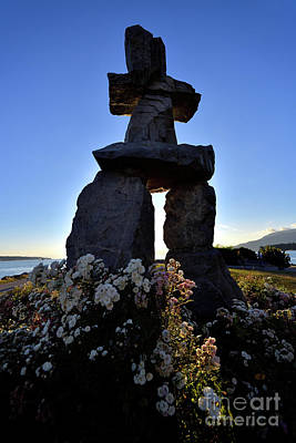 Photograph - Vancouver Bc - Inukshuk Monument At English Bay 2 by Terry Elniski