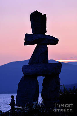 Photograph - Vancouver Bc - Inukshuk Monument At English Bay 3 by Terry Elniski