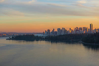 Travel Photograph - Vancouver Bc Skyline And Stanley Park At Sunset by David Gn